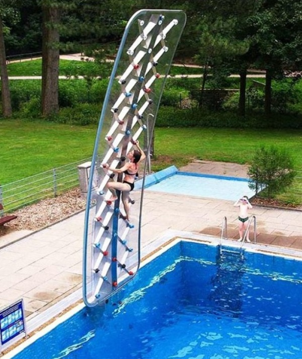 rock climbing pool wall