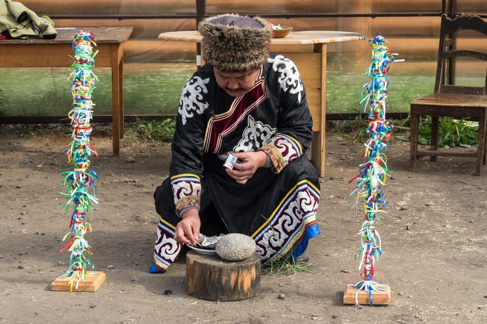 "Olkhon island - Ust-Orda village - lake Baikal - Irkutsk oblast-Siberia Traditional shaman ceremonies. Olkhon (Russian: Ольхо́н, also transliterated as Olchon) is the fourth-largest lake-bound island in the world. It is by far the largest island in Lake Baikal in eastern Siberia, with an area of 730 square kilometres (280 sq mi). Structurally, it acts as the southwestern margin of Academician Ridge. The indigenous Buryats, adherents of shamanism, believe the island to be a spiritual place; one of the groups of deities adhered to in Buryati yellow shamanism is called the oikony noyod, the ""thirteen lords of Olkhon. The original indigenous people were the Kurykans, forefathers of two ethnic groups: the Buryats and Yakuts http://en.wikipedia.org/wiki/Olkhon_Island Ust-Orda village is a place where indigenous, Buryat population lives. We meet the local Buryat shaman to learn about ancient shaman traditions and the current state of shaman religions. We may participate at one of the traditional shaman ceremonies. The museum has a rich collection of exhibits on the Buryats' history and culture."