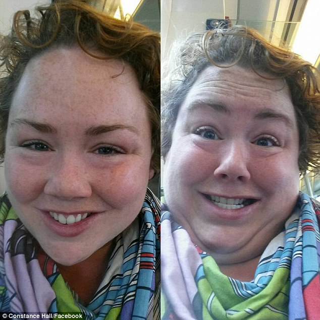 Having a ball: One woman took photos from different angles while waiting for a train