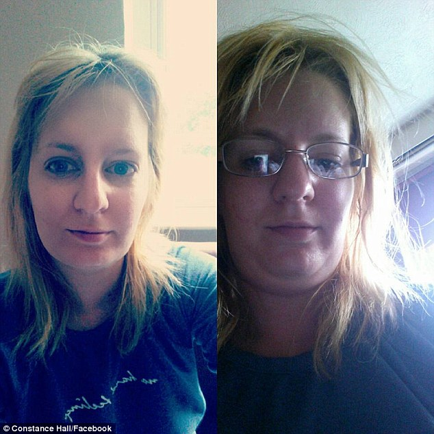 'Angle. Filters. Glasses or contacts. It All makes a massive difference': Another shared a photo of herself wearing glasses with tousled hair and a snap seconds later with her hair styled and her glasses off