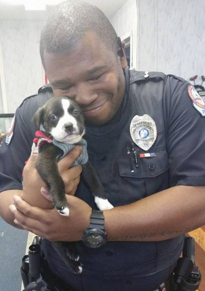 Officer Holding His New Family Member